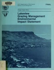 Lakeview grazing management program by United States. Bureau of Land Management. Oregon State Office